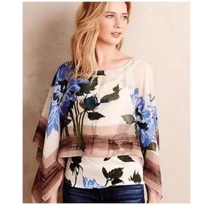 Anthropologie • Tiny floral scarf overlay top